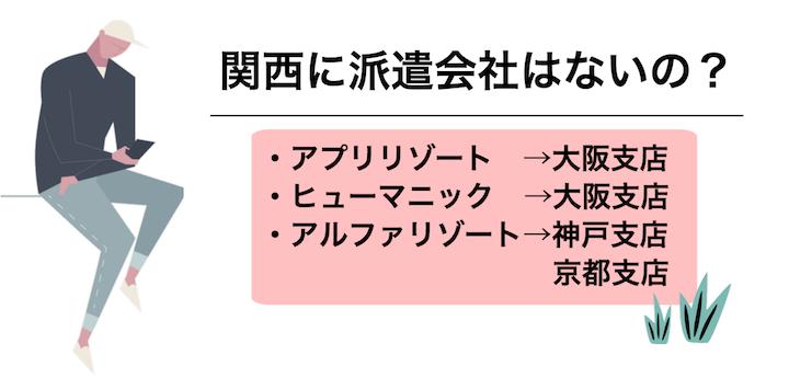 関西にリゾートバイト派遣会社の店舗ってないの?